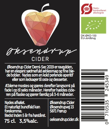 Øksendrup Cider label back